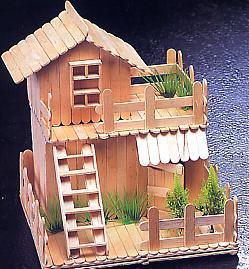 冰棒棍房子雪糕棍粘房子分解图